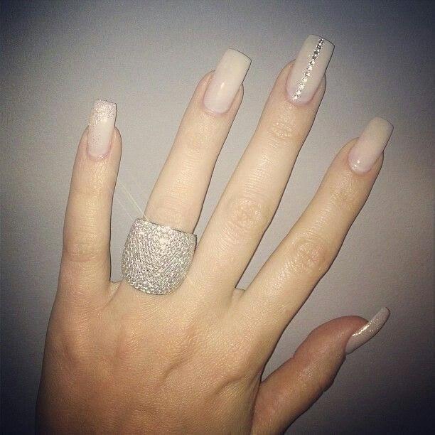 Tumblr Nails With Rhinestones