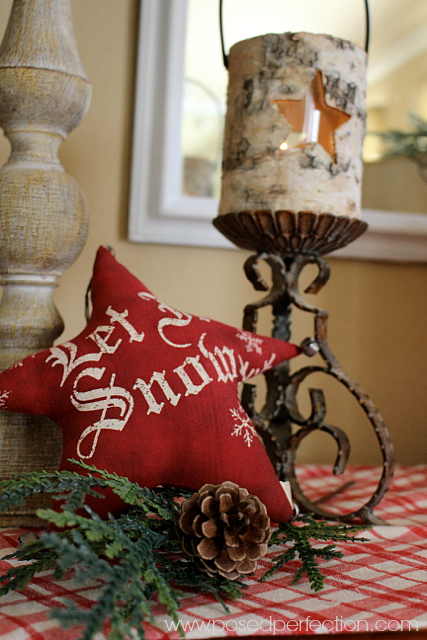 "Red puffy ""let it snow"" star with birch wood star candle holder"