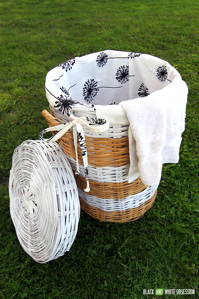 Wicker Laundry Hamper Makeover: After | www.blackandwhiteobsession.com