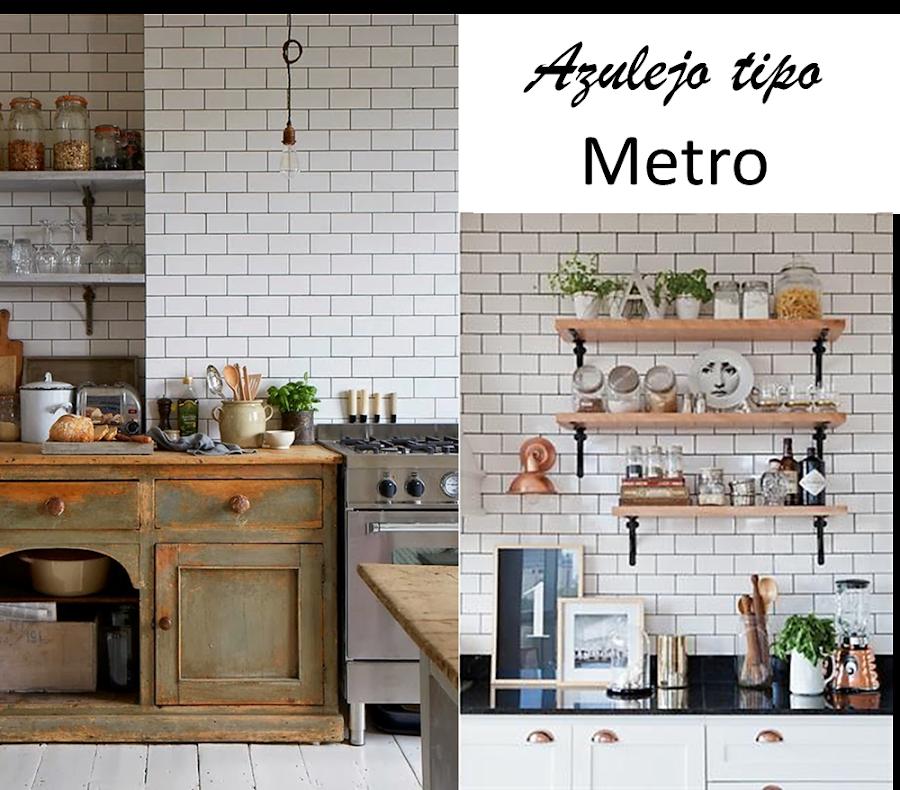 Azulejos tipo metro for Cocina con azulejos blancos