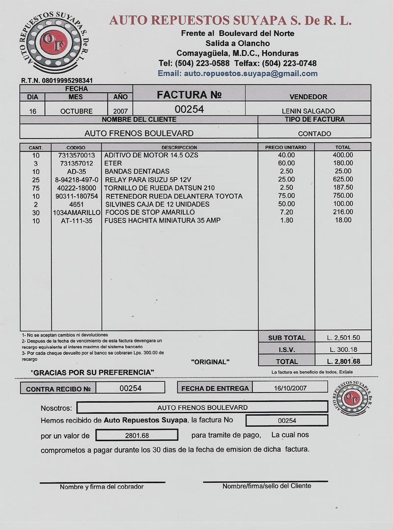 Informática II LasNieves: Factura