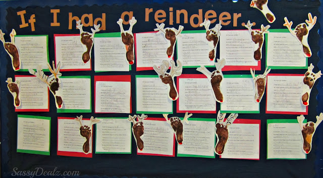 reindeer footprint bulletin boar christmas