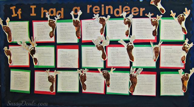 reindeer footprint bulletin boar christmas