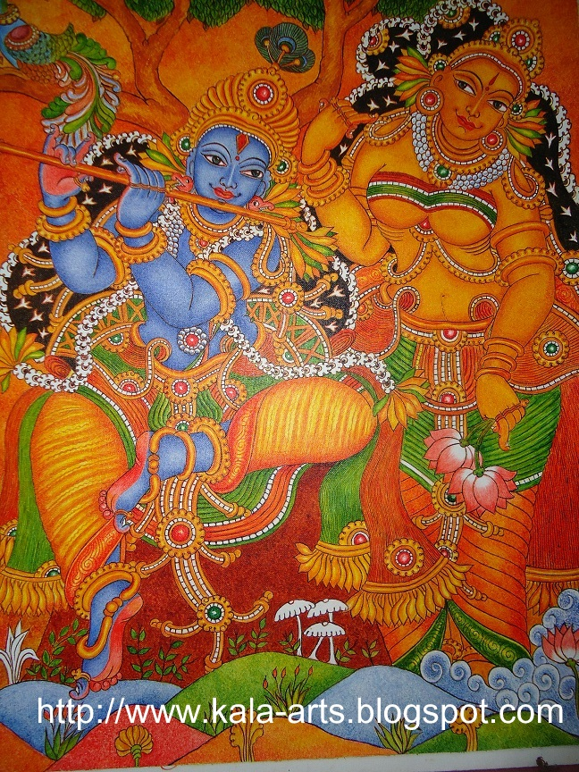 Mural paintings mural painting for Mural radha krishna