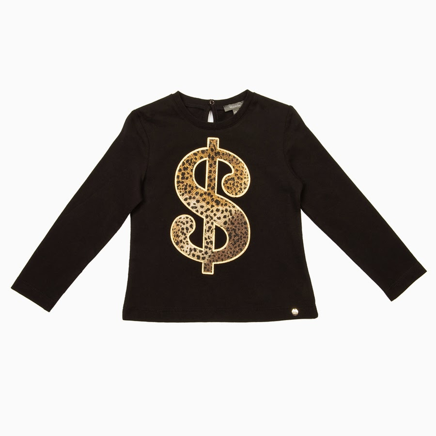 Microbe by Miss Grant - Girls' Black Dollar Top with Leopard Print Details