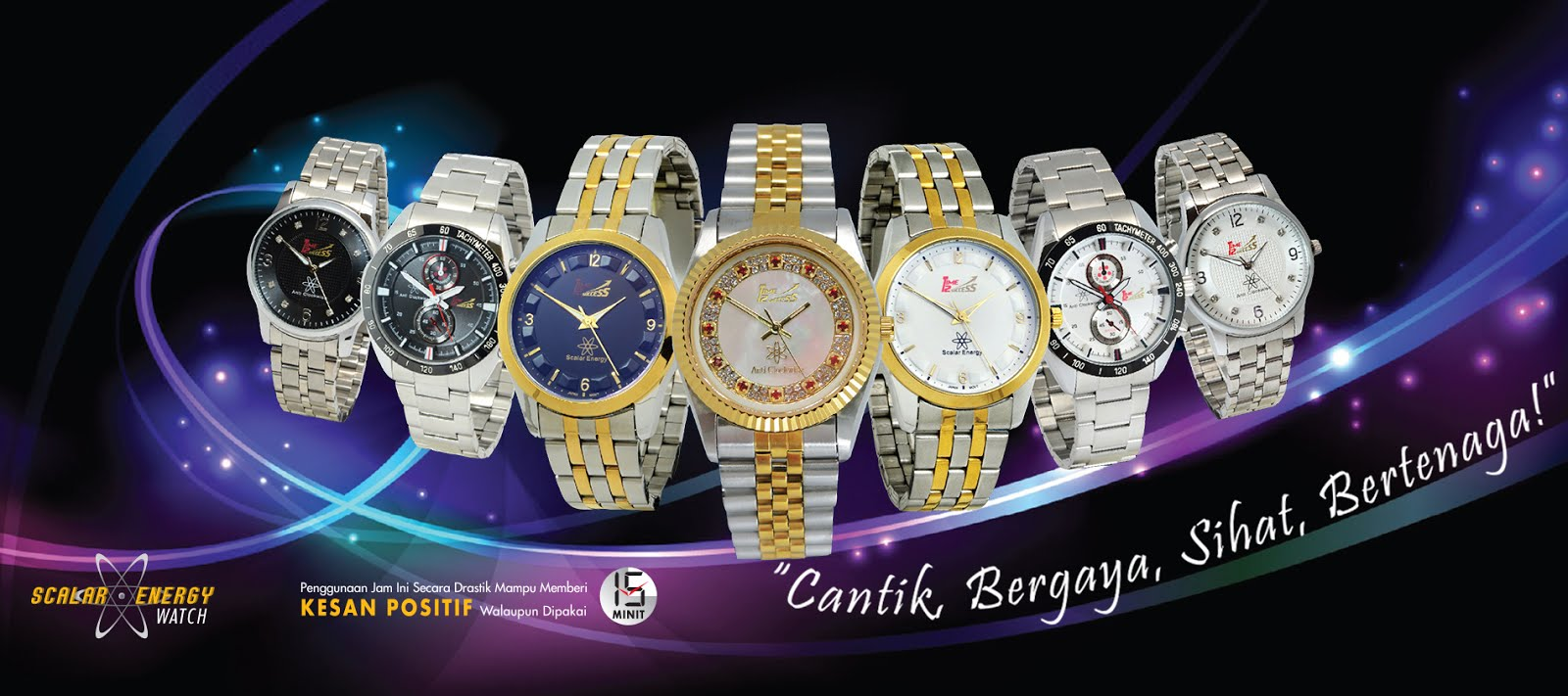 jam tawaf terapi anti clock wise scalar energy wrist watch titanium vital ion nano time 2 success