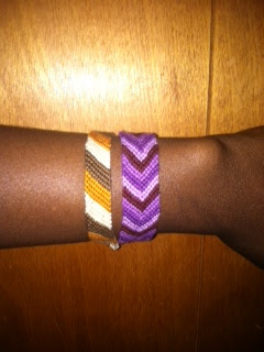 Chevron-Purple bracelet and basic striped friendship bracelet