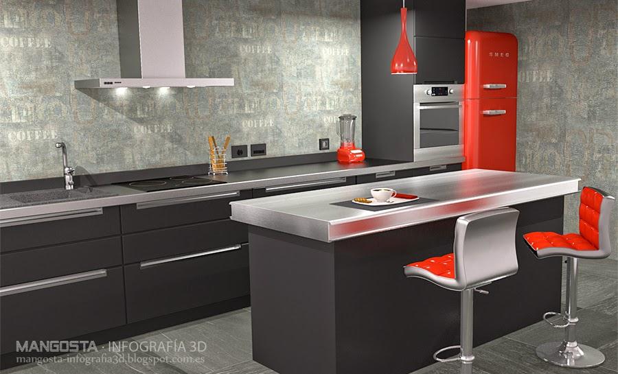 Mangosta infograf a 3d cocina minimalista for Cocinas minimalistas 2015