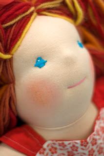 waldorf doll embroidery blue eyes bamboletta