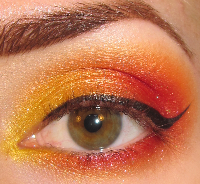 Glitter Is My Crack Fiery Sunset Eye Makeup Look Picture Tutorial