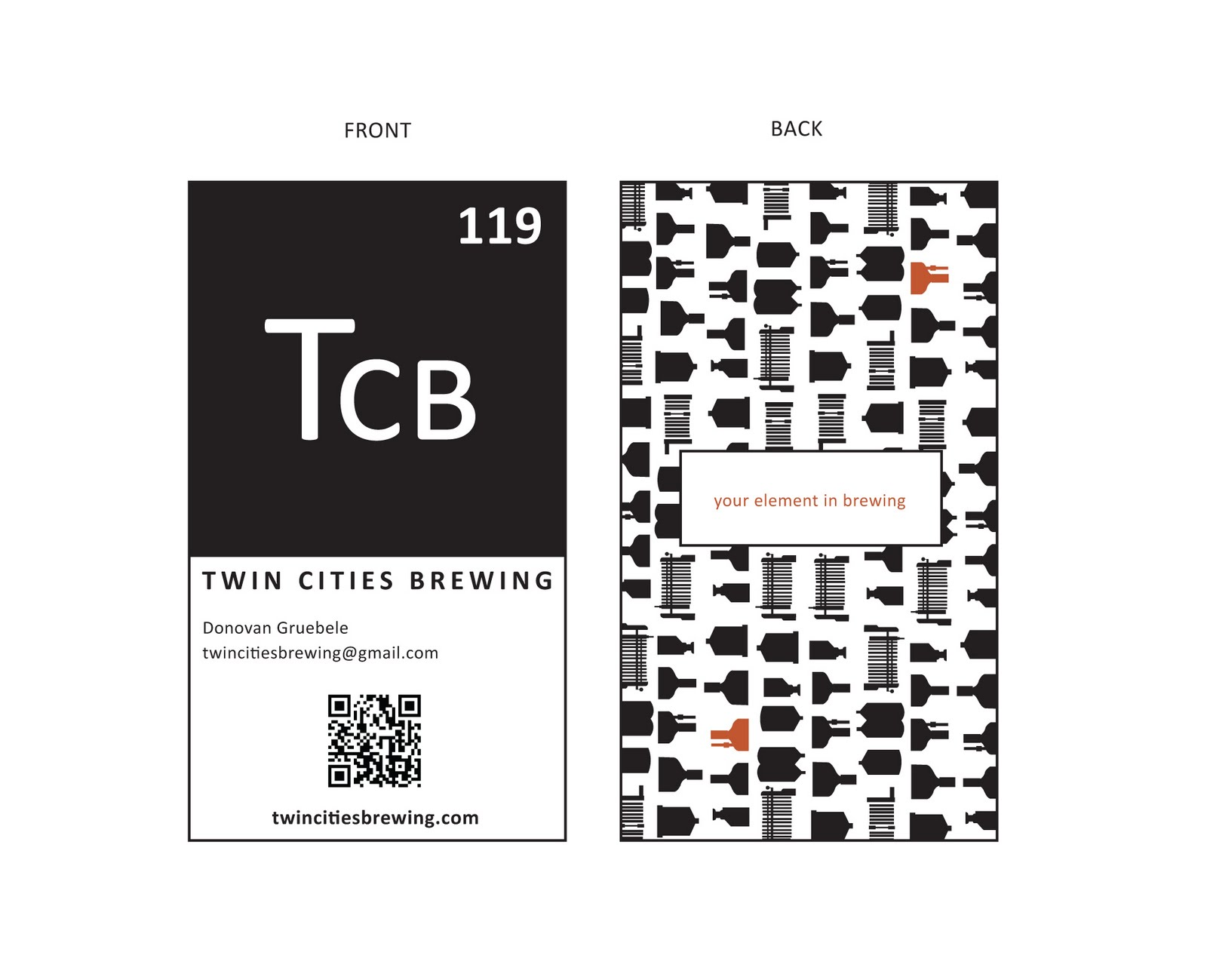Chris bruns design heres an idea i had for the the business card for twin cities brewing for the front i wanted to keep with the visual style of the periodic element square reheart Image collections