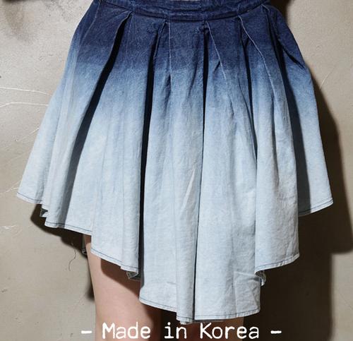 Ombre Denim Mullet Skirt