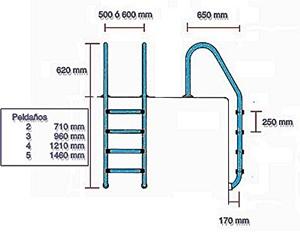 Escaleras para piscinas de acero inoxidable for Escaleras para piscinas