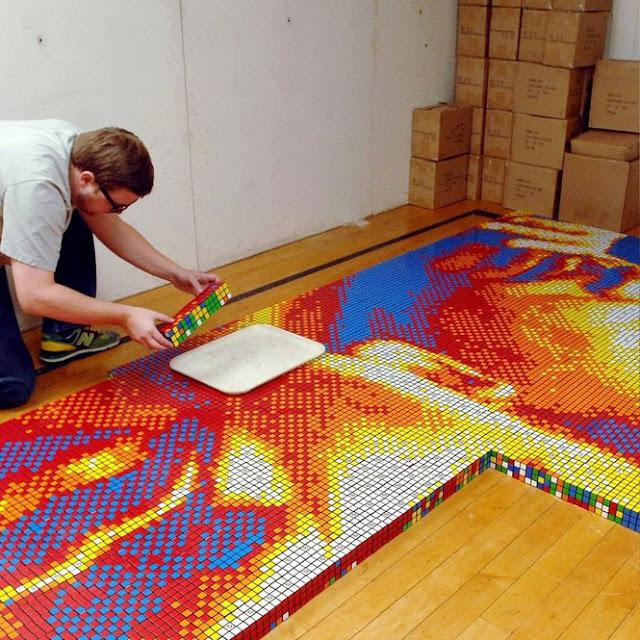 Pete Fecteau - mosaico di cubi di Rubik