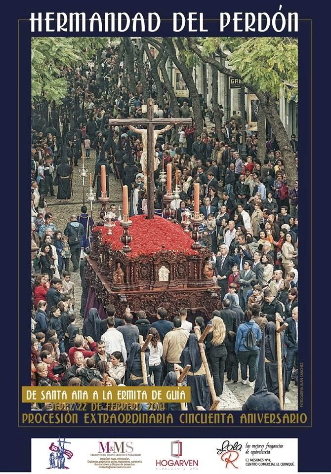 Cartel que anuncia salida extraordinaria del Stmo. Cristo del Perdón por su 50 Aniversario 2014.