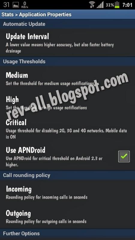 Menu pengaturan stats free - aplikasi android untuk mengetahui statistik penggunaan panggilan (call), sms, internet melalui jaringan gsm atau wifi (rev-all.blogspot.com)