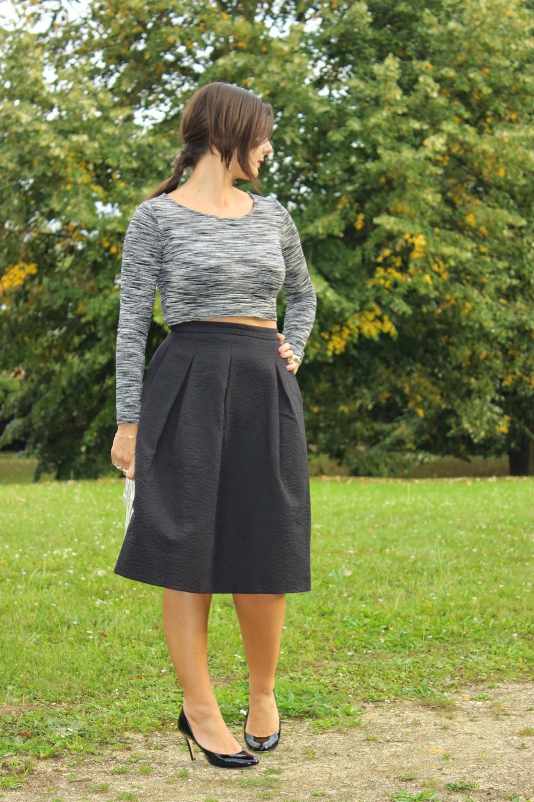 jupe taille haute, croc top h&m