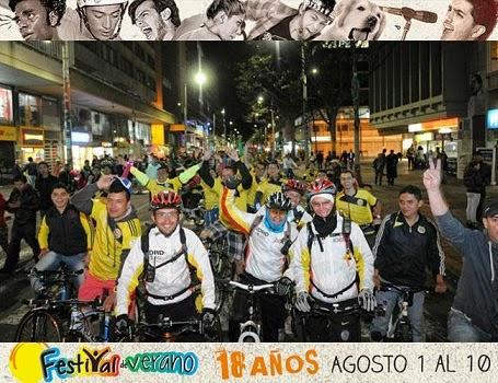 Exitosa ciclovía nocturna en Bogotá