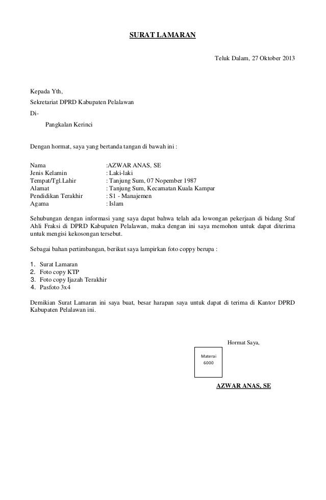 Contoh surat lamaran kerja cv, contoh surat lamaran kerja umum, contoh