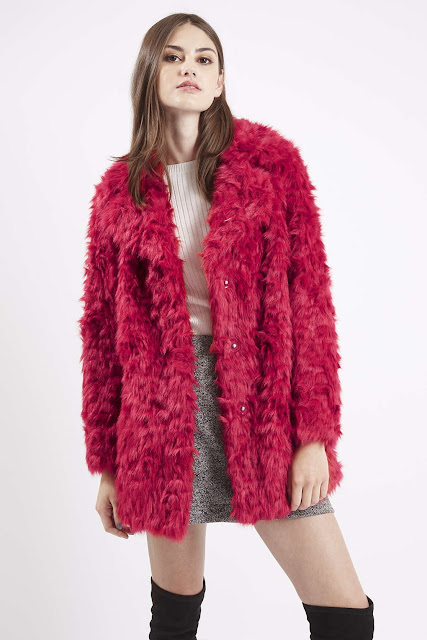 red faux fur coat, red shaggy fur coat,