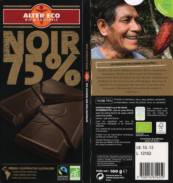 tablette de chocolat noir dégustation alter eco pérou noir 75
