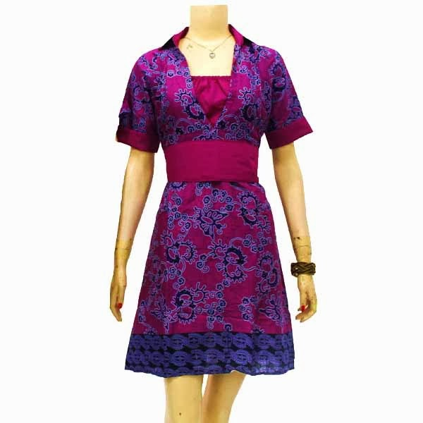 DB3649 Model Baju Dress Batik Modern Terbaru 2014