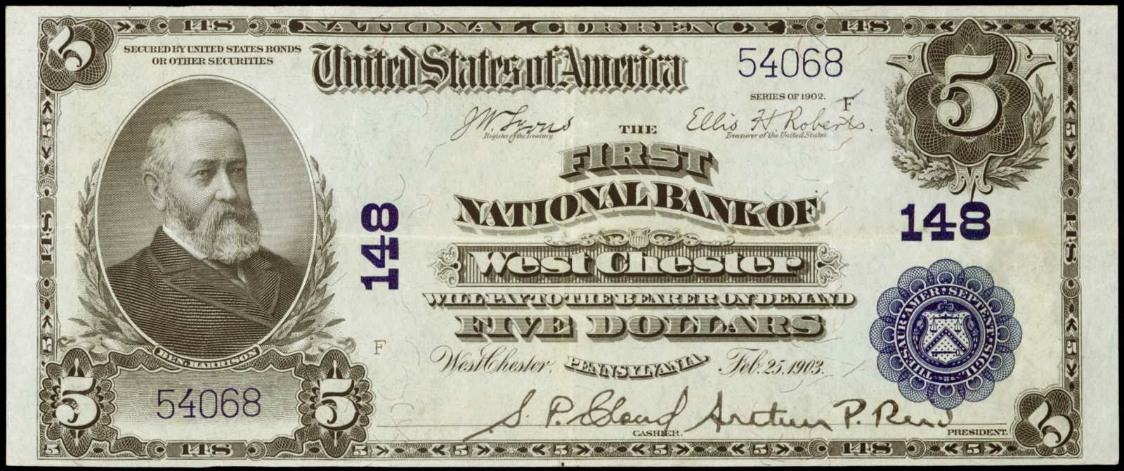 1902 5 Dollar bill national bank notes