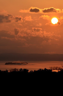 Sunset with marine layer over Lake Champlain & Juniper Island