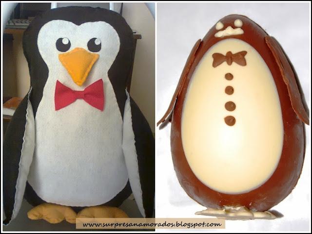 pinguim de feltro e ovo de pascoa de chocolate em forma de pinguim