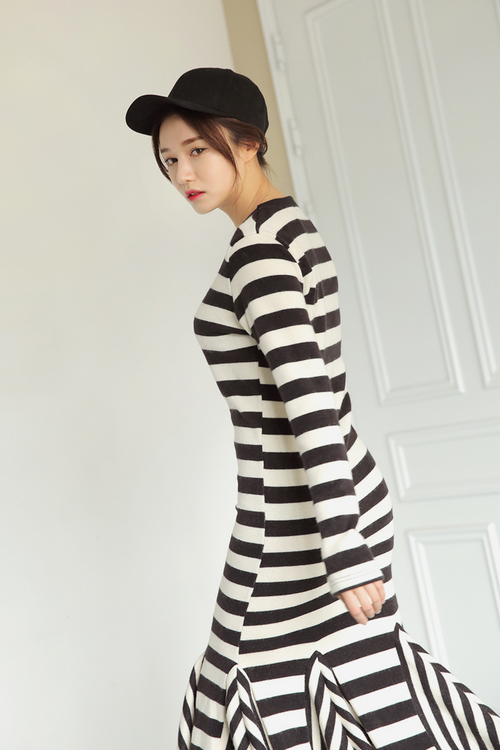 Striped Godet Accent Dress