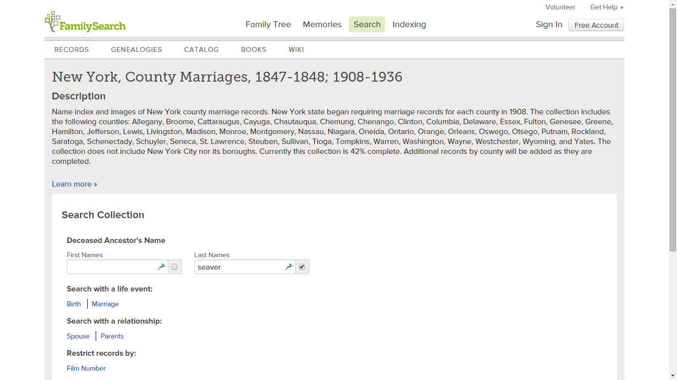 Tuesday's Tip - New York County Marriages, 1847-1848 and 1908-1936 on FamilySearch