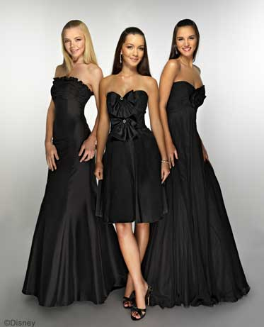 black bridal party dresses