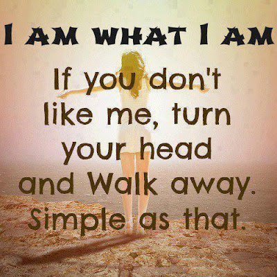 I am what I am If you don't like me, turn your head and walk away. Simple as that