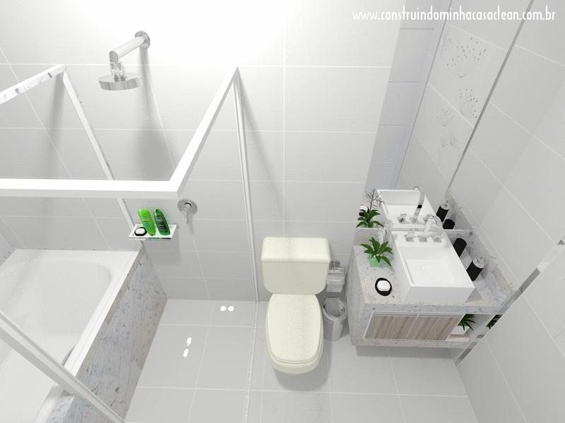 Construindo Minha Casa Clean Projeto do Banheiro da Suíte! -> Projeto De Banheiro Com Banheira De Hidro