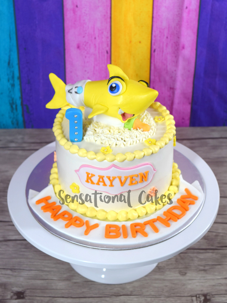 The Sensational Cakes Baby Shark Cream Cake For 1st Birthday Theme