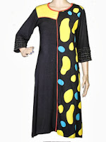 Pakistani Designer Dresses: The Kurta colors of Life Footprints Design In Black and Yellow