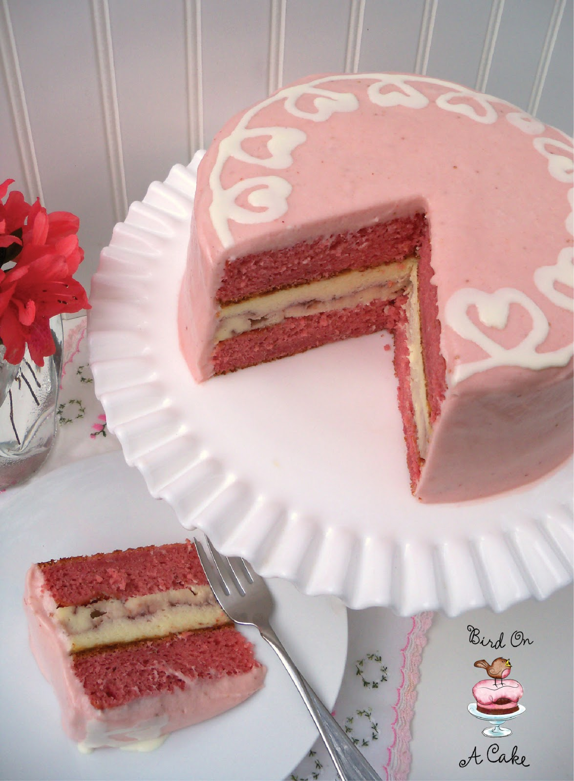 Bird On A Cake: Strawberry Swirl Cheesecake Cake