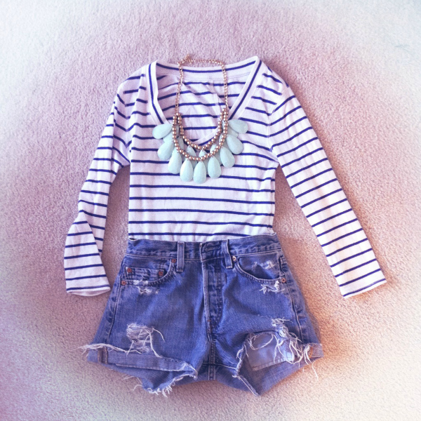 Summer outfit with denim shorts