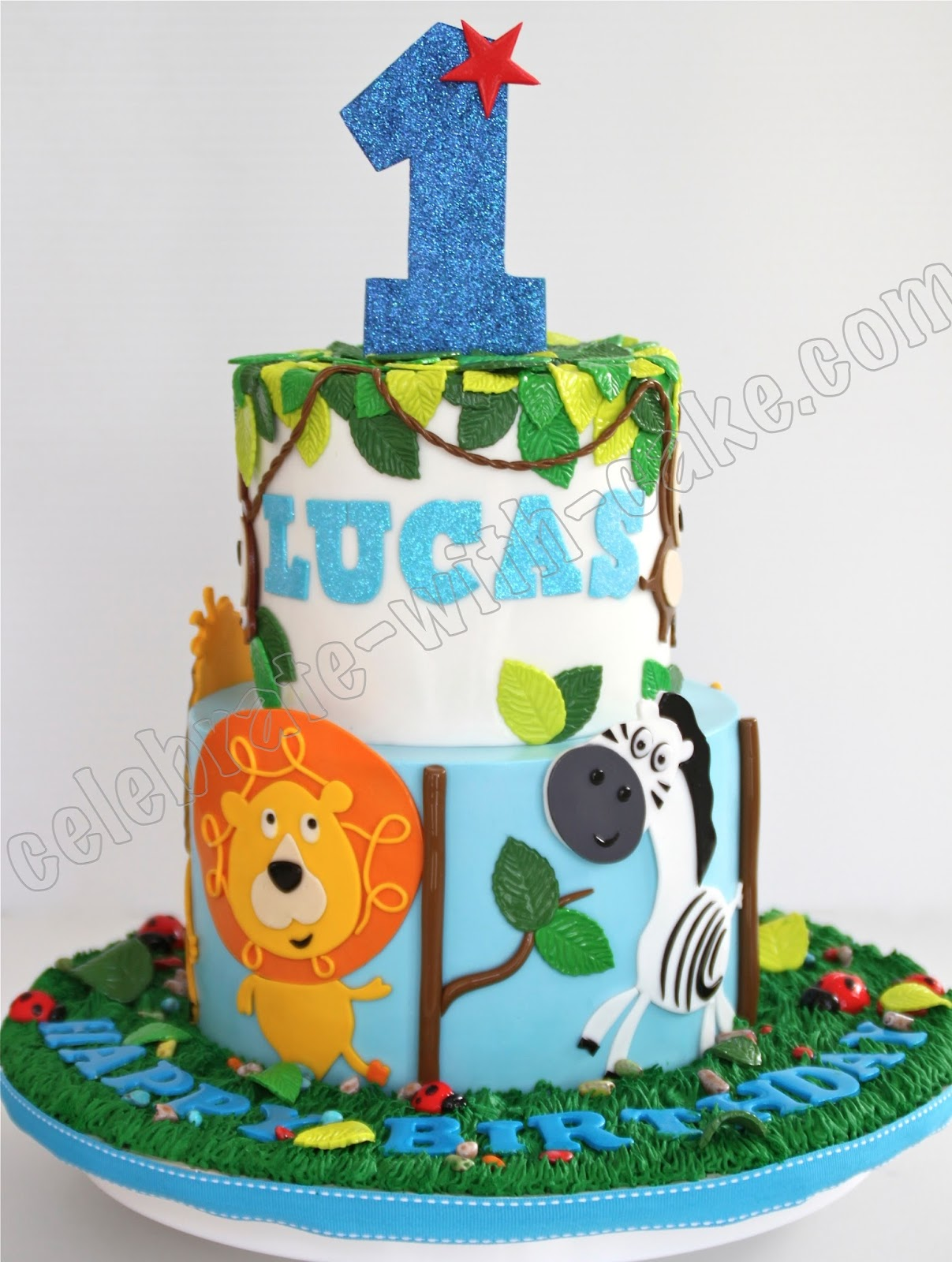 Celebrate With Cake 1st Birthday Animal Safari Tier Cake