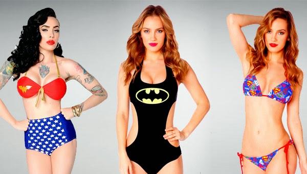 Bikinis y monokinis inspirados en Wonder Woman, Batman y Supergirl