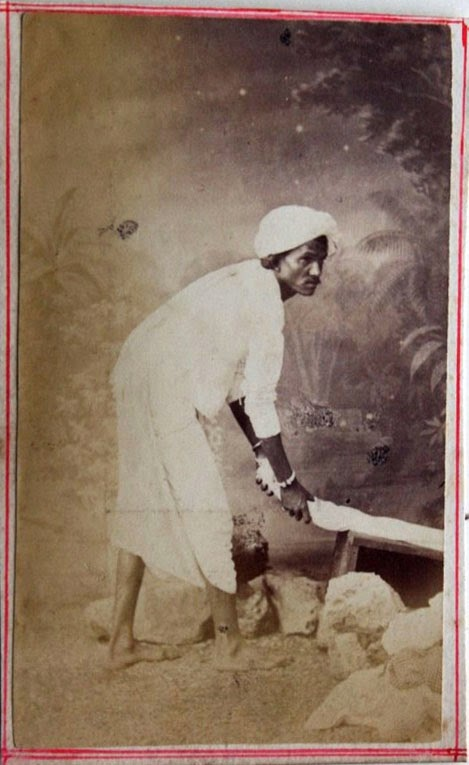 A Washerman or Dhobi - Vintage Photograph c1880's