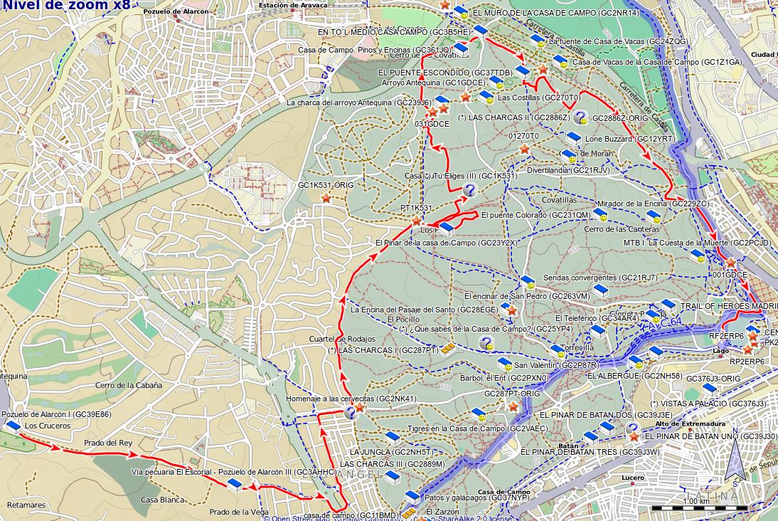 Rutas y excursiones geocaching en la casa de campo - Mapa de la casa de campo ...