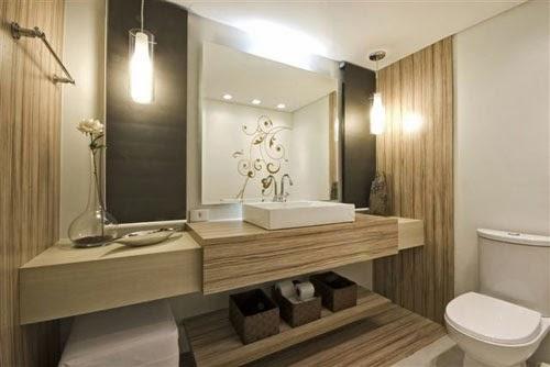DECORA INTERI Iluminação de banheiro -> Banheiro Moderno Marron