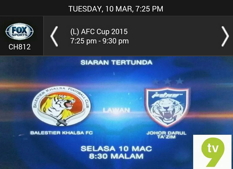 Live streaming JDT Vs Balestier Khalsa FC 10 Mac 2015