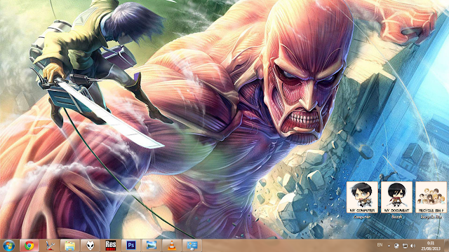 [Theme Win 7] Shingeki no Kyojin By Bashkara