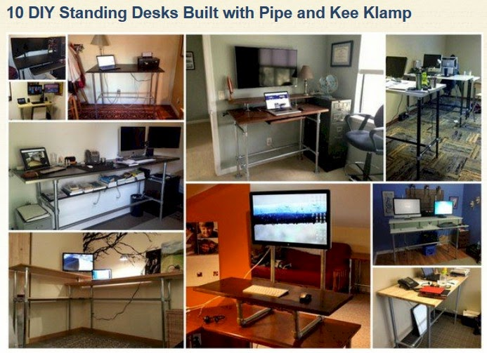 http://www.simplifiedbuilding.com/blog/10-diy-standing-desks-built-with-pipe-and-kee-klamp/