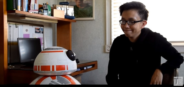 Angelo Casimiro with his latest project: a smartphone-controlled life-size BB-8