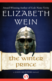 cover art for The Winter Prince, featuring an ancient full-face helmet against a deep blue background