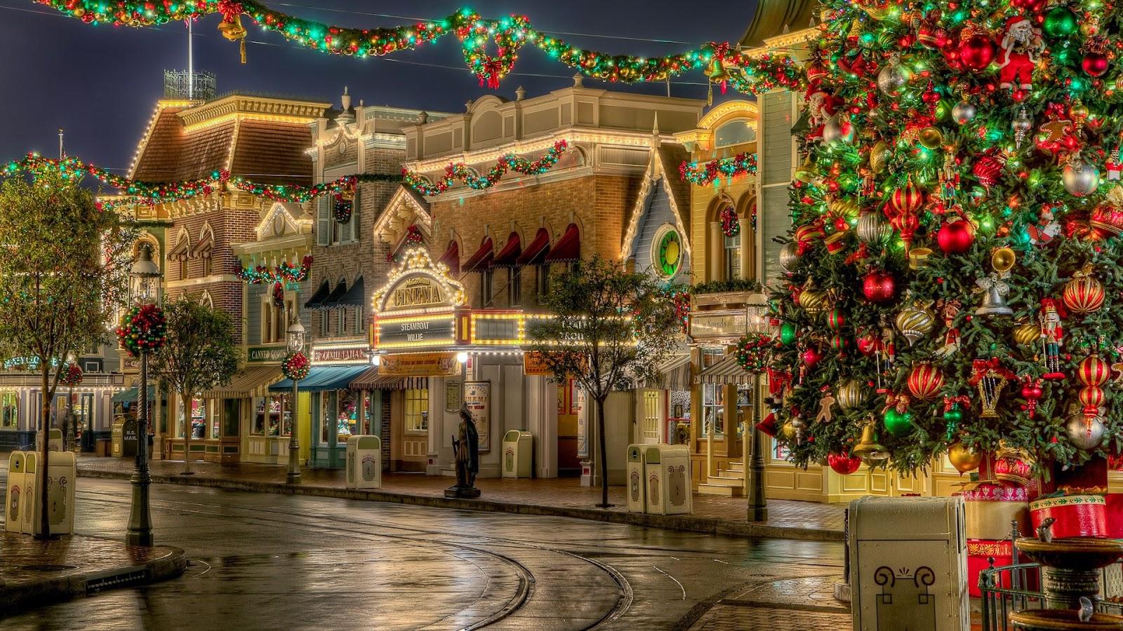 christmas tree wallpaper and christmas street