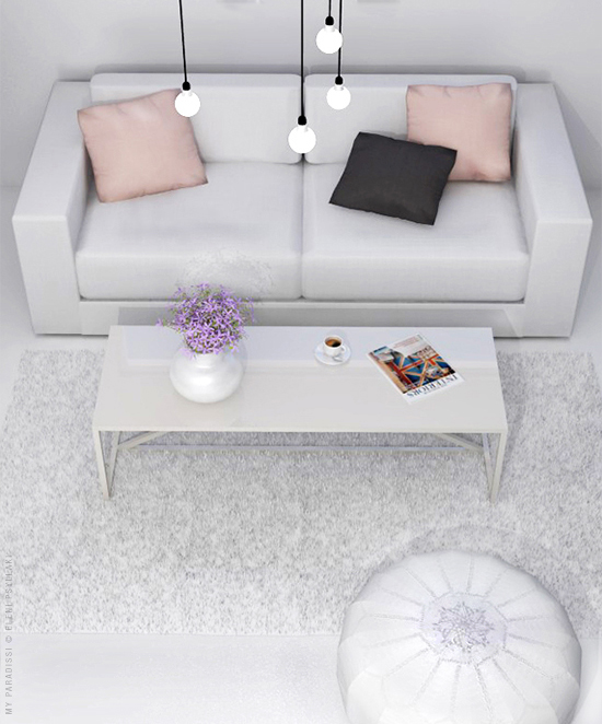 White living room visualization | My Paradissi © Eleni Psyllaki
